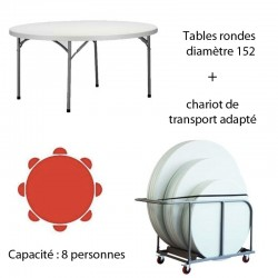 Lot de 10 tables polyéthylène diamètre 152 + chariot de transport PROMOTION